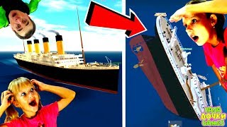 WRECK of the TITANIC from SINKING SHIP! The real story of Titanic SIMULATOR Daughter Dad ROBLOX