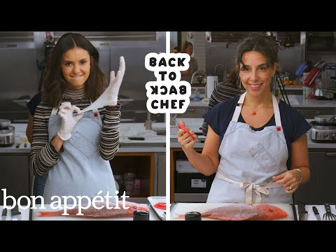 Nina Dobrev Tries to Keep Up with a Professional Chef | Back-to-Back Chef | Bon Appétit