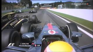 2012 Belgium SPA crash  - Grosjean - Hamilton - Alonso - Kobayashi --  HD