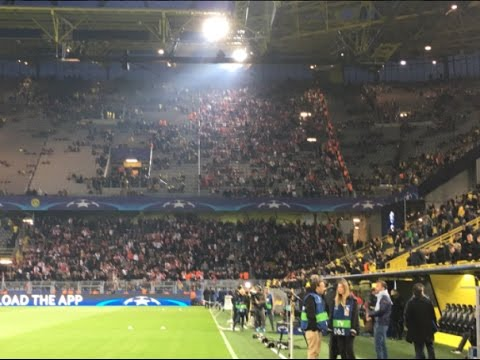 "Monaco fans cheer ""Dortmund!"" in support of Borussia Dortmund after bus explosion incident"