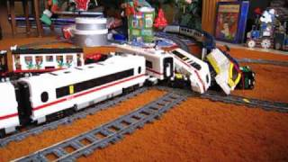 Repeat youtube video LEGO train crash high speed Eurostar and ICE 3 on 9V double track