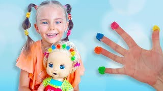 Learn Colors with Baby Doll and Colorful hair clips Finger Family Songs for kids