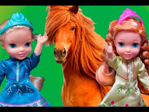 Elsa and Anna toddlers at the farm with Barbie, horses, water splash and relax and swimming pool fun