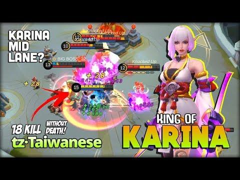 Legend Never Die! King Of Karina Mid Lane?! Tz·Taiwanese Karina King ~ Mobile Legends