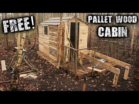 Building an Off Grid Cabin for Free to Save Money - Woodstove & Pallet Wood Bed