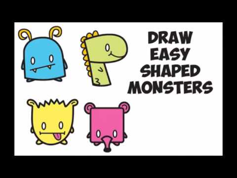 How To Draw Cute Cartoon Monsters From Letters Shapes Easy Step By Step Drawing For Kids Kawaii Youtube
