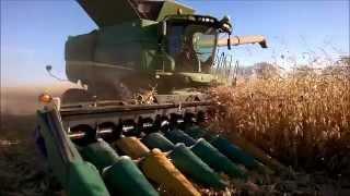 Deere S680 Combine with Sensor Guided AutoSteer in Corn