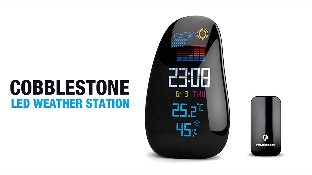 Cobblestone Shaped LED Wireless Weather Station Clock - YouTube