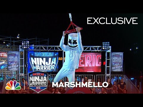 Marshmello Runs Stage 1 at the Las Vegas National Finals - American Ninja Warrior 2018 Exclusive
