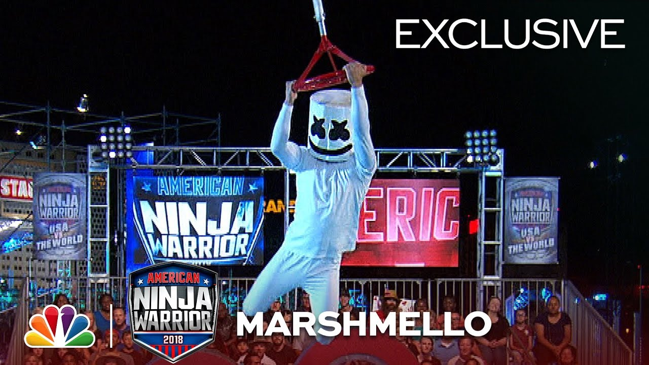 Marshmello Runs Stage 1 at the Las Vegas National Finals - American Ninja Warrior 2018 (Exclusive) #1