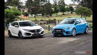 2018 Honda Civic Type R vs Ford Focus RS: 0-100km/h & engine sound