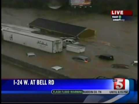 The May Day 2010 Tennessee Floods - Portable Classroom Floats Down I-24 in Nashville