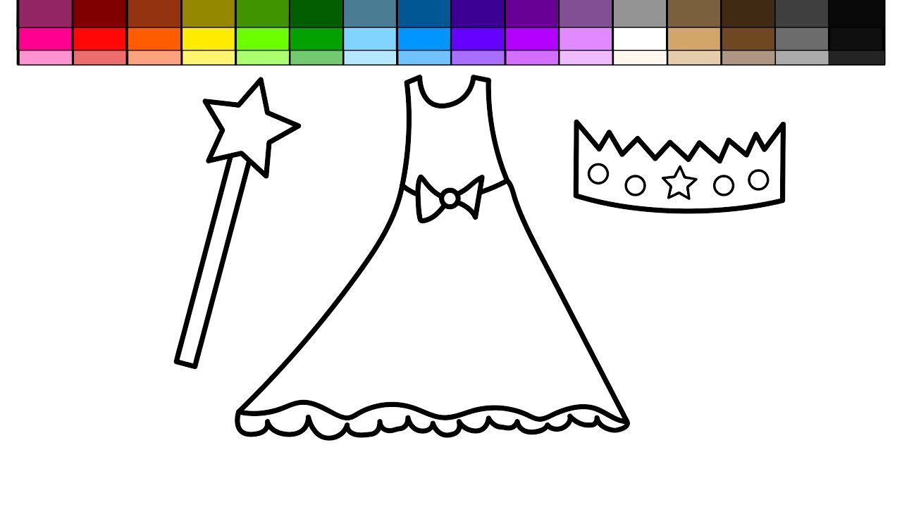 Learn Colors for Kids and Color Pretty Dress Princess Crown and ...