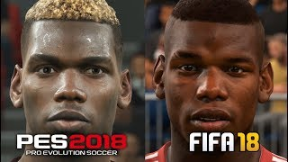 Fifa 18 vs pes 2018 player faces 4k comparsion manchester united