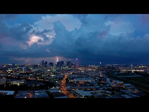 Watch: Drone captures spectacular lightning show as storm rolls through Dallas