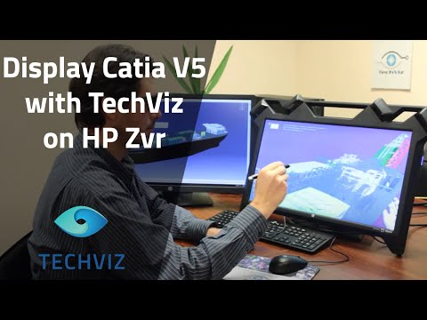 Catia V5 instantly displayed with TechViz on HP Zvr / zSpace Virtual Reality Display