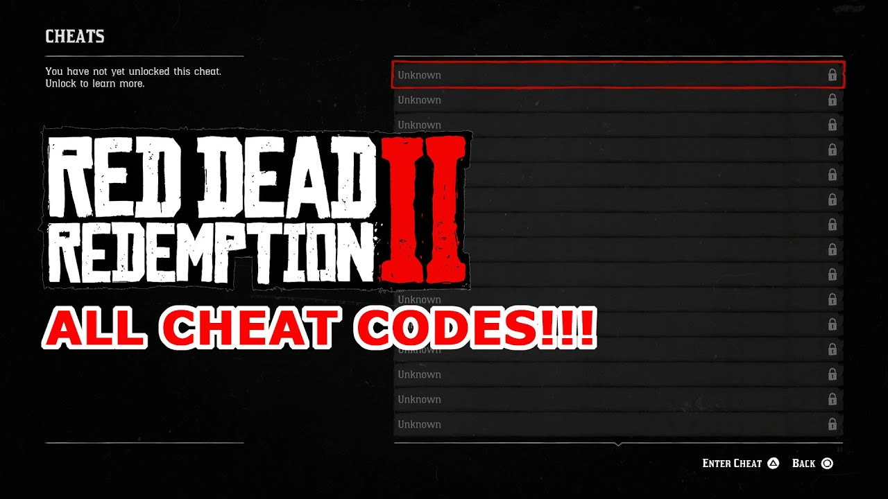 All Red Dead Redemption 2 Cheat Codes All 27 Cheat Codes Guide
