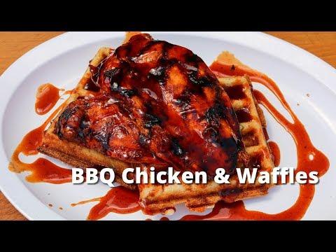 BBQ Chicken and Waffles   Grilled Chicken & Jalapeño Cornbread Waffles on Big Green Egg