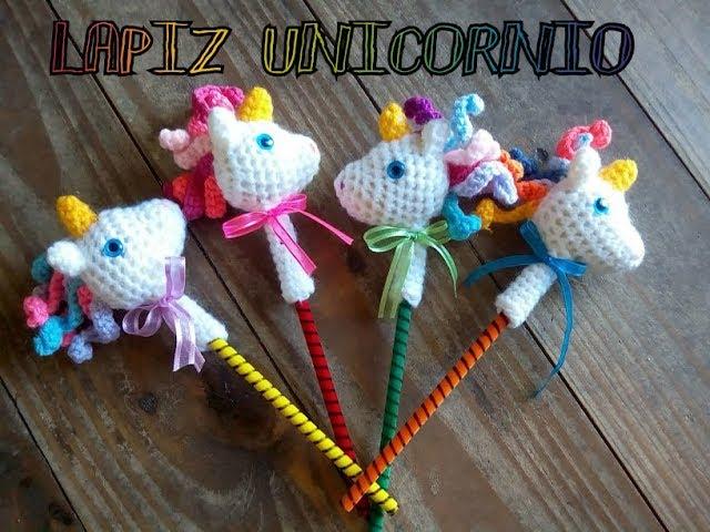 Tutorial lápiz unicornio tejido a crochet