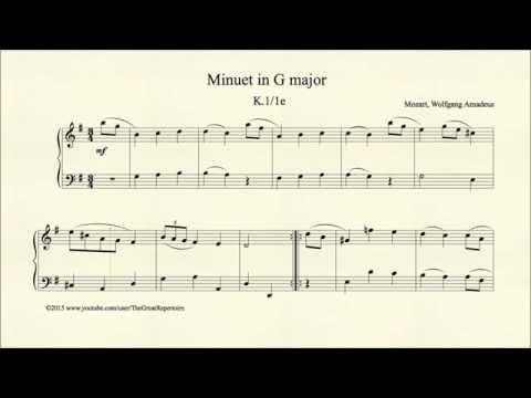 Mozart, Minuet in G major, K 1 1e, Organ