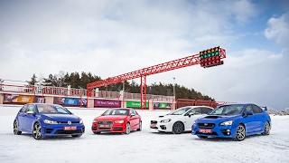 Дуэль-тест: Subaru WRX STi vs Subaru WRX vs Audi S3 vs Volkswagen Golf R. Кто круче едет по льду?!