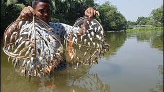 Believe This Fishing Or Not? Unique Tiny Fish Trapping System - Catching Fish From Beautiful Canal