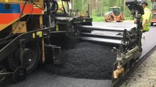 Cat asphalt paver SE60 VT XW laying ABT11 in Sweden.