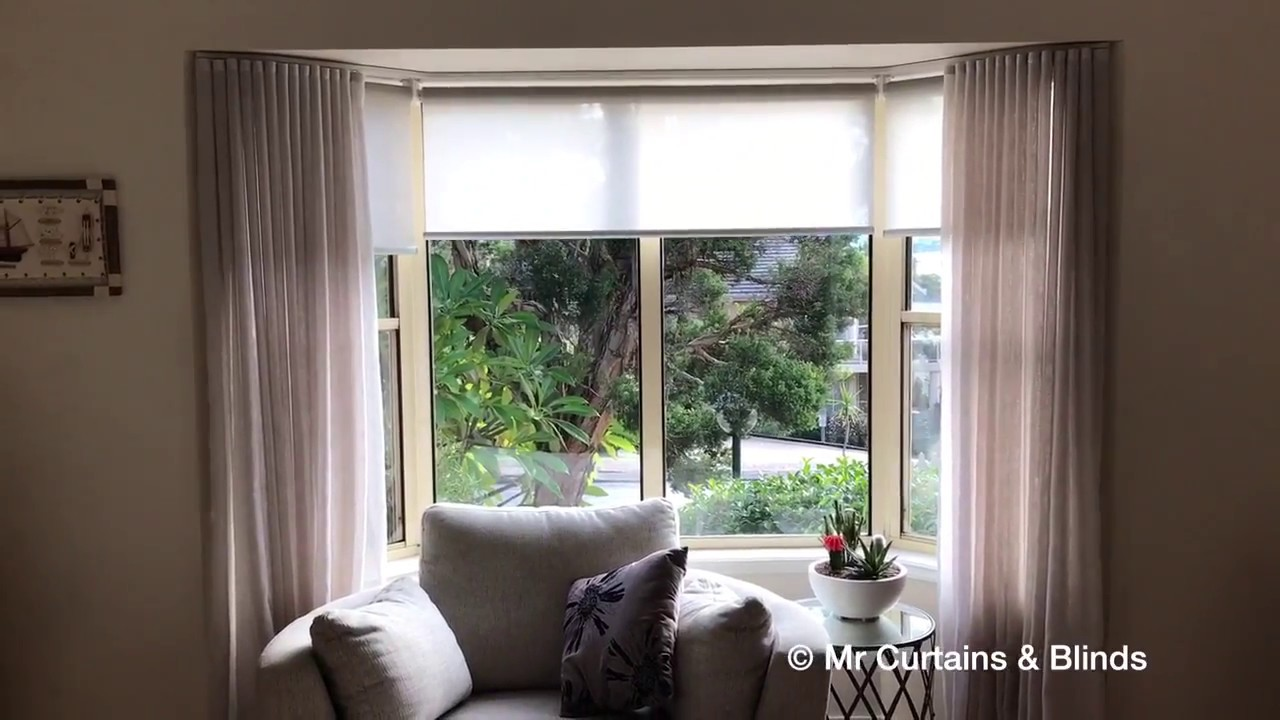 Bay Window With Motorised Roller Blinds And Sfold Sheer Curtains