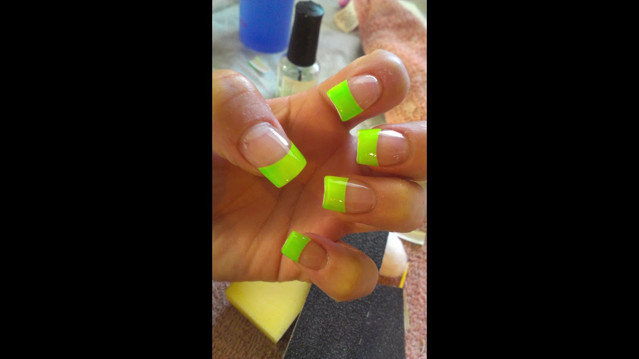 LIME GREEN ACRYLIC NAILS!!!! - YouTube
