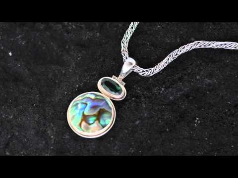 Bali Silver Jewelry Wholesale Pendant Featuring Paua Shells