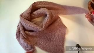 МК шаль, бактус, платок  спицами платочной вязкой, 1 часть, для начинающих