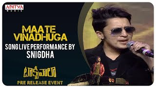 Maate Vinadhuga Song Live Performance By Snigdha @ Taxiwaala Pre-Release EVENT Live