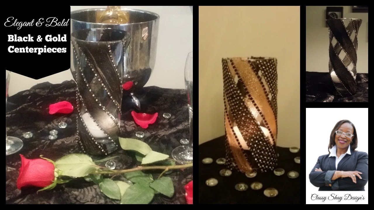 DIY Easy Black Gold Centerpieces