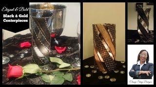 DIY: Easy Black & Gold Centerpieces| Dollar Tree Vases