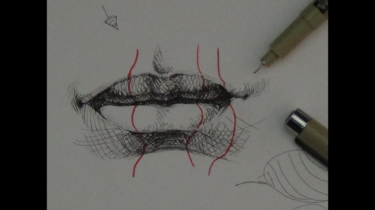 Pen ink drawing tutorials how to draw realistic lips youtube ccuart Image collections