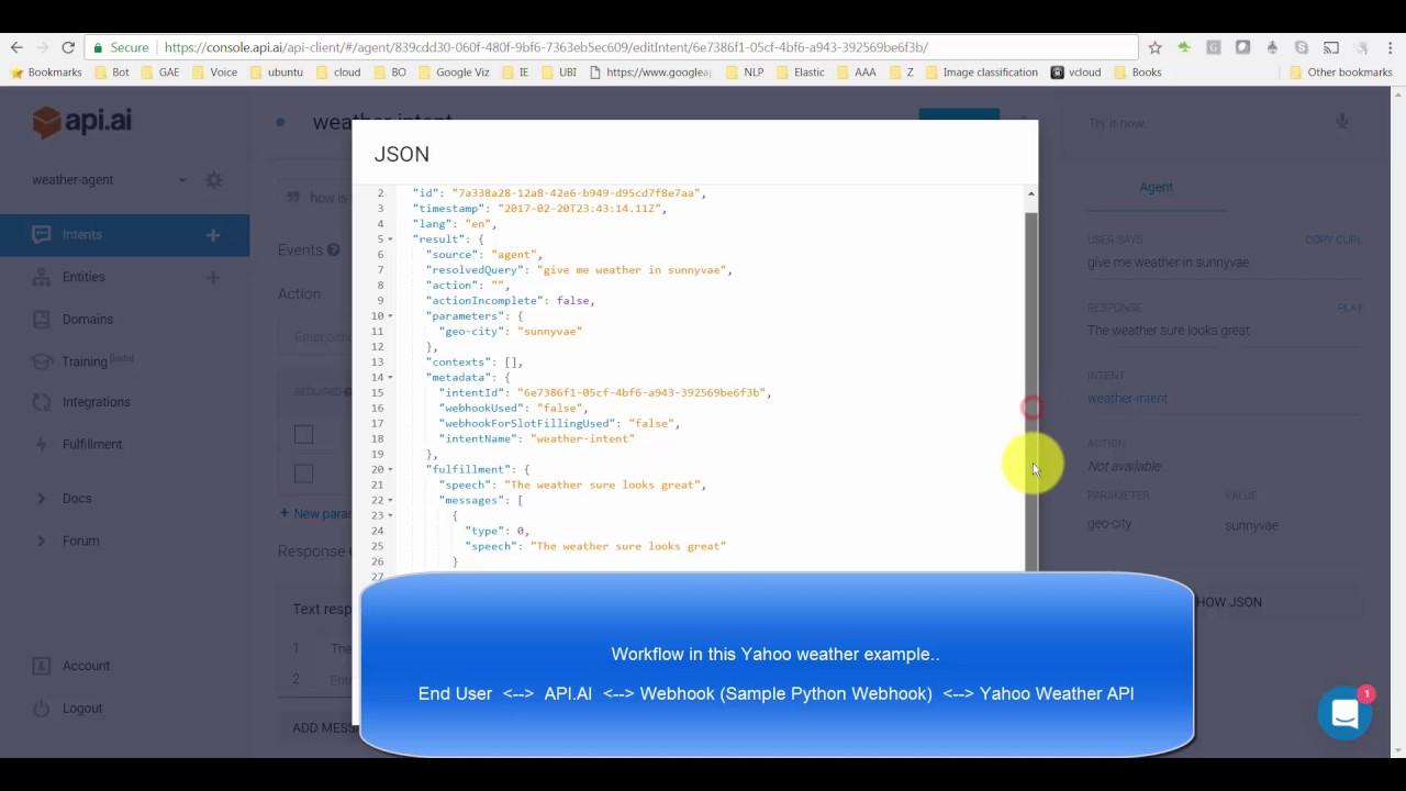 Chatbot - DialogFlow / API AI - Webhook Example