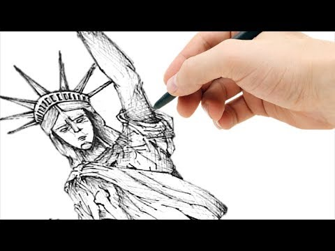 Dibujo de la ESTATUA DE LA LIBERTAD a mano alzada FACIL - YouTube