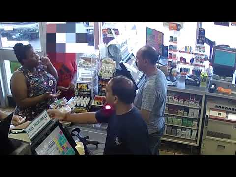 Penny-pinching woman POURS iced coffee onto a 7-Eleven checkout counter and two employees