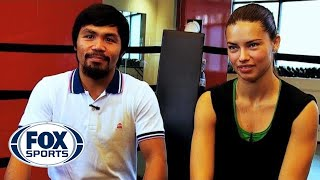 Adriana Lima trains with Manny Pacquiao