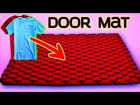 DIY, How To Make Door Mat Using T Shirt , Old t shirt doormat , old t shirt doormat
