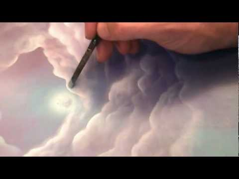 How to paint a fantasy fairy tale landscape and clouds with acrylics by artist Philippe Fernandez