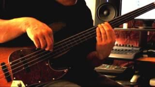 Bass Mods K4VV 4 String Fretless Bass 3 Tone Sunburst Top Bartolini pickups Video Demo