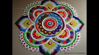 Very easy, colorful and attractive rangoli for festivals | Easy rangoli designs by Poonam Borkar
