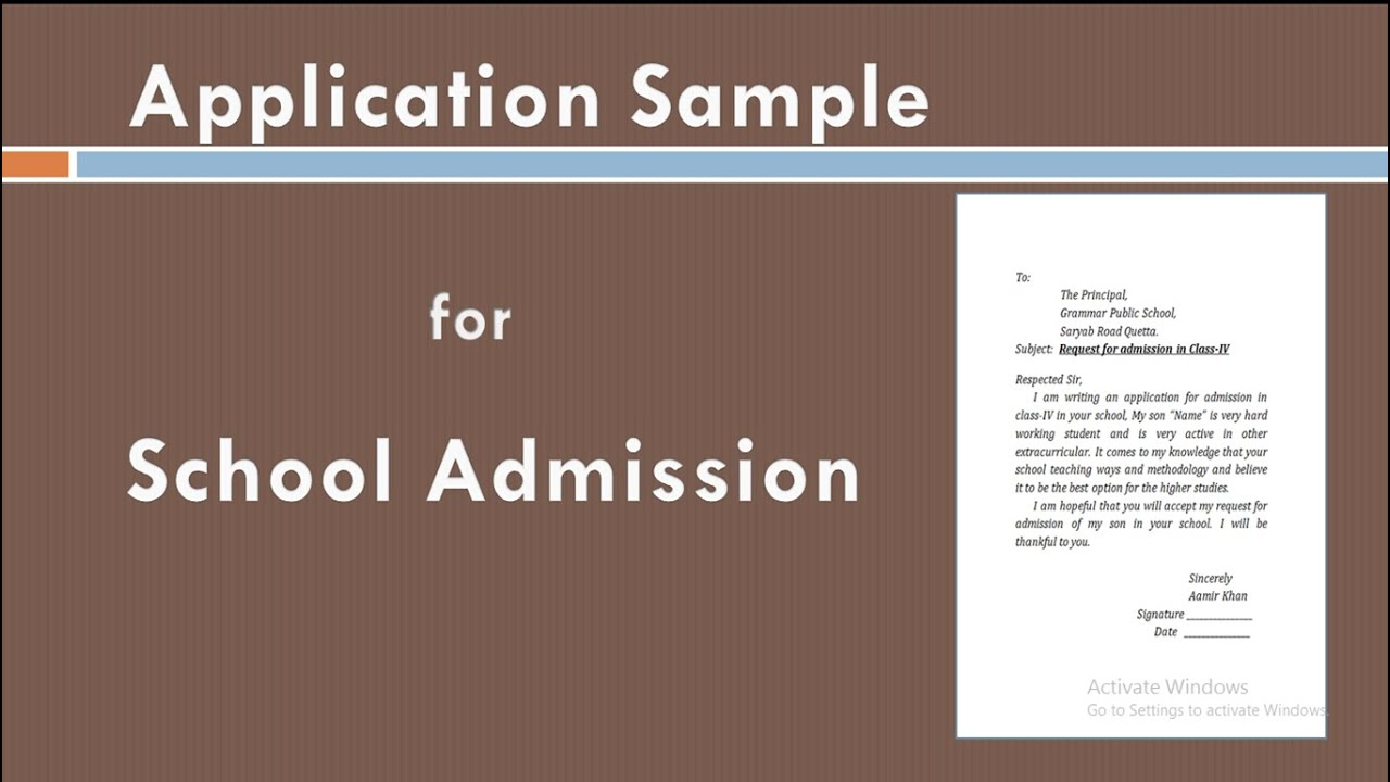 Write an application to Principal for school admission in MS Word  Apply  for Admission
