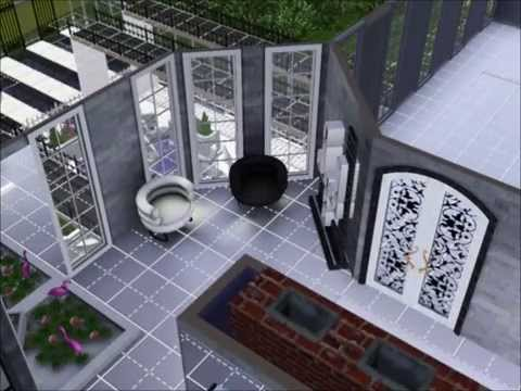 Sims 3 modern black white house mansion inside part 2