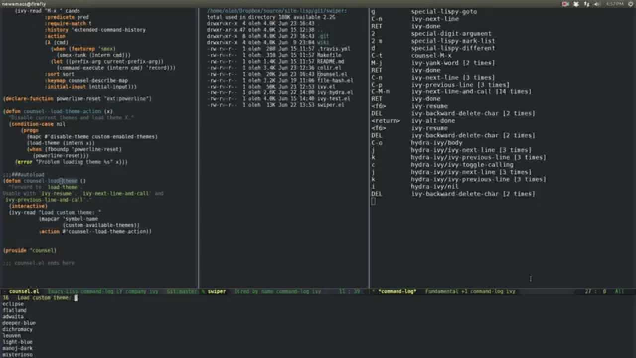 Switching Emacs themes with counsel-load-theme