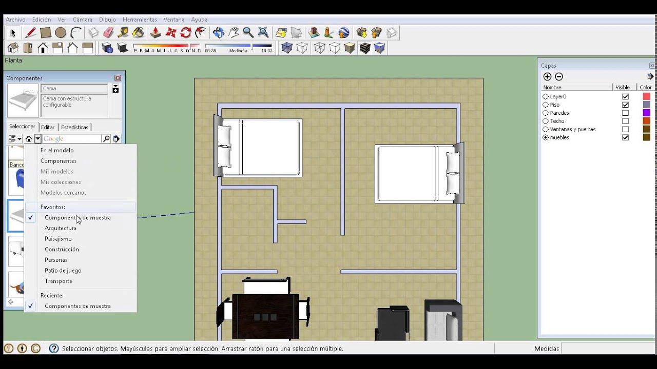 Como colocar fácilmente muebles en tu diseño de casa en SketcUp ...