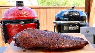 Brisket Throwdown Weber Summit Charcoal Grill vs Kamado Joe Big Joe How to BBQ Smoked Wagyu packer