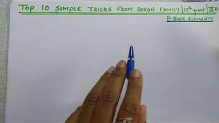 Top 10 Simple Tricks from Boron family | 13th Group | lllA group elements | P Block elements