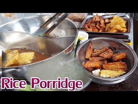 Khmer Food, Asian Food, White rice porridge at Russian market Phnom Penh Cambodia